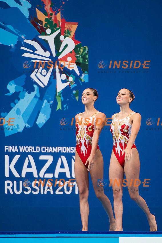 CERRUTI Linda FERRO Costanza ITA<br /> Women's Duet Technical Preliminary Technical Routine - Kazan Arena<br /> Day03 25/07/2015<br /> XVI FINA World Championships Aquatics Swimming<br /> Kazan Tatarstan RUS July 24 - Aug. 9 2015 <br /> Photo A.Masini/Deepbluemedia/Insidefoto