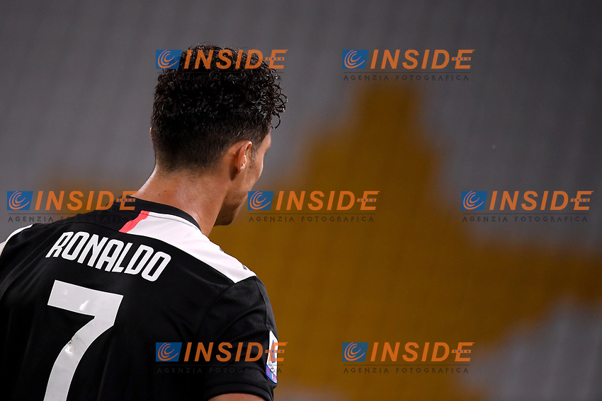 Cristiano Ronaldo of Juventus reacts during the Serie A football match between Juventus FC and UC Sampdoria at Juventus stadium in Turin (Italy), July 26th, 2020. Play resumes behind closed doors following the outbreak of the coronavirus disease. <br /> Photo Federico Tardito / Insidefoto