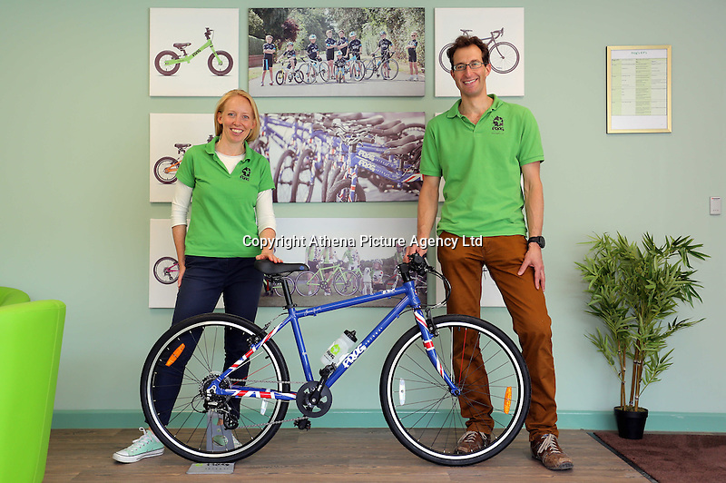 Pictured: Owners Jerry and Shelley Lawson with one of the bicycles in the colours of the British flag assembled at the plant  Monday 15 August 2016<br />