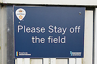 Please stay off the field sign ahead of Derbyshire CCC vs Essex CCC, Specsavers County Championship Division 2 Cricket at the 3aaa County Cricket Ground on 15th August 2016