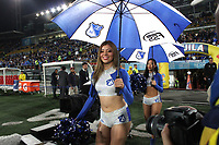 BOGOTA - COLOMBIA, 29-11-2017:Porrista de Millonaros.Millonarios  y Equidad en partido de los cuartos de final Vuelta de la Liga Aguila II - 2017, jugado en el estadio Nemesio Camacho El Campin de la ciudad de Bogotá. /Cheerleader of Millonarios  and Equidad during a match for the Second leg between Millonarios  and Equidad , to the quarter of finals for the Liga Aguila II - 2017 at the Nemesio Camacho El Campin   Stadium in Bogota city: Vizzorimage / Felipe Caicedo / Staff