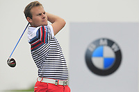 Tyrrell Hatton (ENG) tees off the 2nd tee during Thursday's Round 1 of the 2014 BMW Masters held at Lake Malaren, Shanghai, China 30th October 2014.<br /> Picture: Eoin Clarke www.golffile.ie