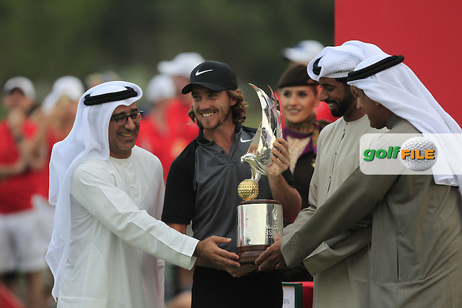 Tommy Fleetwood (ENG) winner of the Abu Dhabi HSBC Championship on Sunday 22nd January 2017.<br /> Picture:  Thos Caffrey / Golffile<br /> <br /> All photo usage must carry mandatory copyright credit     (&copy; Golffile | Thos Caffrey)