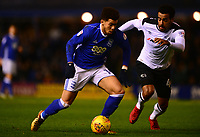 Che Adams of Birmingham in action with Tom Huddlestone of Derby during the Sky Bet Championship match between Birmingham City and Derby County at St Andrews, Birmingham, England on 13 January 2018. Photo by Bradley Collyer / PRiME Media Images.
