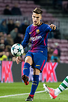 Denis Suarez Fernandez (l) of FC Barcelona is tackled by Fabio Coentrao of Sporting CP during the UEFA Champions League 2017-18 match between FC Barcelona and Sporting CP at Camp Nou on 05 December 2017 in Barcelona, Spain. Photo by Vicens Gimenez / Power Sport Images