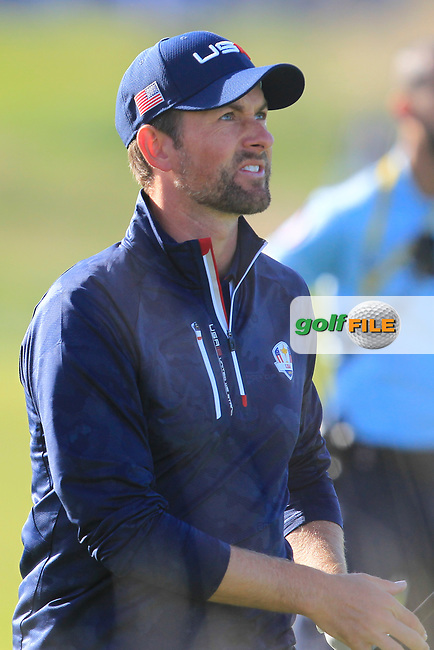 Webb Simpson (Team USA) on the 10th fairway during Saturday Foursomes at the Ryder Cup, Le Golf National, Ile-de-France, France. 29/09/2018.<br /> Picture Thos Caffrey / Golffile.ie<br /> <br /> All photo usage must carry mandatory copyright credit (© Golffile | Thos Caffrey)