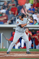 Mahoning Valley Scrappers first baseman Simeon Lucas (28) at bat during a game against the Williamsport Crosscutters on July 8, 2017 at BB&T Ballpark at Historic Bowman Field in Williamsport, Pennsylvania.  Williamsport defeated Mahoning Valley 6-1.  (Mike Janes/Four Seam Images)