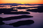 San Juan Island, WA<br /> Aerial  view of the San Juan Islands at sunset
