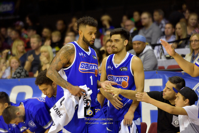Saints' BJ Anthony in action during the NBL - Wellington Saints v Canterbury Rams   at TSB Bank Arena, Wellington, New Zealand on Saturday 8 April 2017.<br /> Photo by Masanori Udagawa<br /> www.photowellington.photoshelter.com.