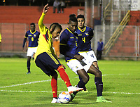PASTO-COLOMBIA,14 -08-2018.Acción de juego entre los equipos de Colombia y Ecuador en partido amistoso de la categoria sub 20.Ecuador ganó dos goles por uno a Colombia en el estadio La Libertad./ Action between the teams of Colombia and Ecuador in a friendly match of the category 20 years. Ecuador won two goals by one to Colombia at the La Libertad stadium. Photo: VizzorImage/ Leonardo Castro / Contribuidor