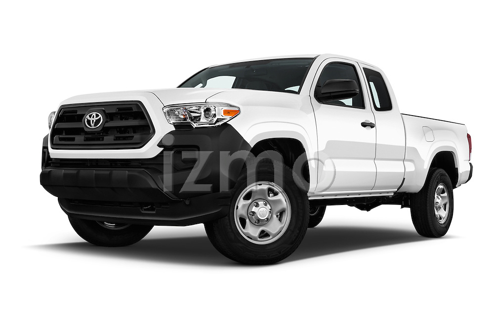 Stock pictures of low aggressive front three quarter view of 2017 Toyota Tacoma SR-Access 4 Door Pick-up Low Aggressive