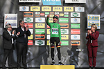 Race leader Maximilian Schachmann (GER) Bora-Hansgrohe also retains the points Green Jersey on the podium at the end of Stage 5 of the 78th edition of Paris-Nice 2020, running 227km from Gannat to La Cote-Saint-Andre, France. 12th March 2020.<br /> Picture: ASO/Fabien Boukla | Cyclefile<br /> All photos usage must carry mandatory copyright credit (© Cyclefile | ASO/Fabien Boukla)
