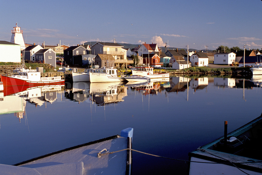 Cape Breton, Nova Scotia, NS, Canada, Fishing boats docked in the harbor of Cheticamp on the Gulf of St. Lawrence in Cape Breton.