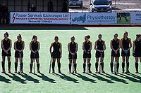 The Wellington team lines up before the National Women's Association Under-18 Hockey Tournament 5th place playoff match between Wellington and Hawkes Bay at Twin Turfs in Clareville, New Zealand on Saturday, 15 July 2017. Photo: Dave Lintott / lintottphoto.co.nz
