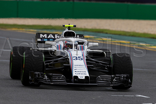 24th March 2018, Melbourne Grand Prix Circuit, Melbourne, Australia; Melbourne Formula One Grand Prix, qualifying; The number 35 Williams Martini driven by Sergey Sirotkin