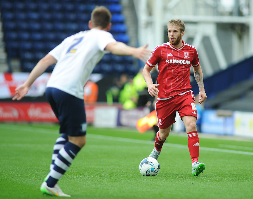 Middlesbrough's Adam Clayton in action during todays match  <br /> <br /> Photographer Kevin Barnes/CameraSport<br /> <br /> Football - The Football League Sky Bet Championship - Preston North End v Middlesbrough -  Sunday 9th August 2015 - Deepdale - Preston<br /> <br /> &copy; CameraSport - 43 Linden Ave. Countesthorpe. Leicester. England. LE8 5PG - Tel: +44 (0) 116 277 4147 - admin@camerasport.com - www.camerasport.com