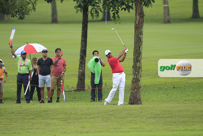 Anirban Lahiri (Asia) on the 1st fairway during the Friday Foursomes of the Eurasia Cup at Glenmarie Golf and Country Club on the 12th January 2018.<br /> Picture:  Thos Caffrey / www.golffile.ie