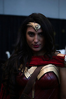 NEW YORK, USA - October 3: A person dressed as Wonder Woman its seen on October 3, 2019 in New York, USA.<br /> The 2019 New York Comic-Con at the Jacob K. Javits Convention Center Day 1 with the latest in superhero movies, sci-fi shows, animation, video games, comic book releases available to attendees.<br /> (Photo by Luis Boza/VIEWpress/Corbis via Getty Images)