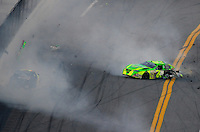Feb 7, 2009; Daytona Beach, FL, USA; ARCA RE/MAX Series driver Patrick Sheltra (60) is hit by Larry Hollenbeck (23) during the Lucas Oil Slick Mist 200 at Daytona International Speedway. Mandatory Credit: Mark J. Rebilas-
