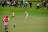 Takumi KANAYA (JPN) watches his putt on 18 during Rd 4 of the Asia-Pacific Amateur Championship, Sentosa Golf Club, Singapore. 10/7/2018.<br /> Picture: Golffile | Ken Murray<br /> <br /> <br /> All photo usage must carry mandatory copyright credit (&copy; Golffile | Ken Murray)