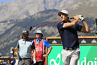 Benjamin Hebert (FRA) tees off the 7th tee during Saturday's Round 3 of the 2018 Omega European Masters, held at the Golf Club Crans-Sur-Sierre, Crans Montana, Switzerland. 8th September 2018.<br /> Picture: Eoin Clarke | Golffile<br /> <br /> <br /> All photos usage must carry mandatory copyright credit (&copy; Golffile | Eoin Clarke)