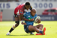 March 14th 2020, Eden Park, Auckland, New Zealand;  Blues winger Mark Telea is brought down during the Super Rugby match between the Blues and the Lions, held at Eden Park, Auckland, New Zealand.