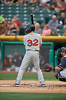 Auston Bousfield (32) of the El Paso Chihuahuas bats against the Salt Lake Bees at Smith's Ballpark on July 5, 2018 in Salt Lake City, Utah. El Paso defeated Salt Lake 3-2. (Stephen Smith/Four Seam Images)