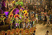 Imperatriz Leopolinense Samba School, Carnival, Rio de Janeiro, Brazil, 26th February 2017. The 'Beautiful Monster' - Belo Monstro - float. The Kayapo Indians are at the front of the float; from left: Beptirití Kayapó, Metuktire, woman, Raoni Metuktire and Megaron Txucarrhamãe.