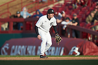 South Carolina Gamecocks first baseman Wes Clarke (28) on defense against the Holy Cross Crusaders at Founders Park on February 15, 2020 in Columbia, South Carolina. The Gamecocks defeated the Crusaders 9-4.  (Brian Westerholt/Four Seam Images)