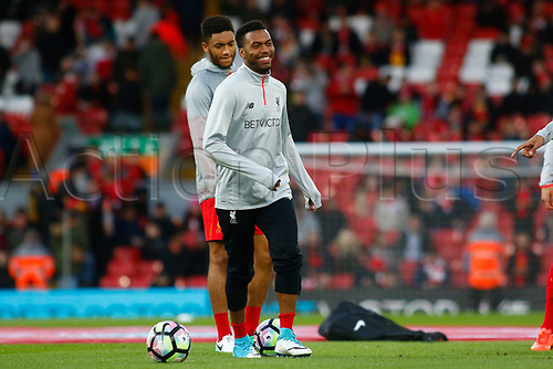 April 5th 2017,  Anfield, Liverpool, Merseyside; EPL Premier league football, Liverpool versus Bournemouth; Daniel Sturridge among the Liverpool substitutes tonight after being out of the squad through injury