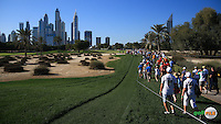 View down the 16th fairway during the Final Round of the 2016 Omega Dubai Desert Classic, played on the Emirates Golf Club, Dubai, United Arab Emirates.  07/02/2016. Picture: Golffile | David Lloyd<br /> <br /> All photos usage must carry mandatory copyright credit (&copy; Golffile | David Lloyd)
