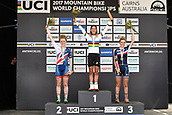 9th September 2017, Smithfield Forest, Cairns, Australia; UCI Mountain Bike World Championships; womens elite podium; first place Jolanda Neff (SUI) riding for Kross Racing Team, second place Annie Last (GBR) riding for OMX Pro Team, third place Pauline Ferrand Prevot (FRA) riding for Canyon Factory Racing XC