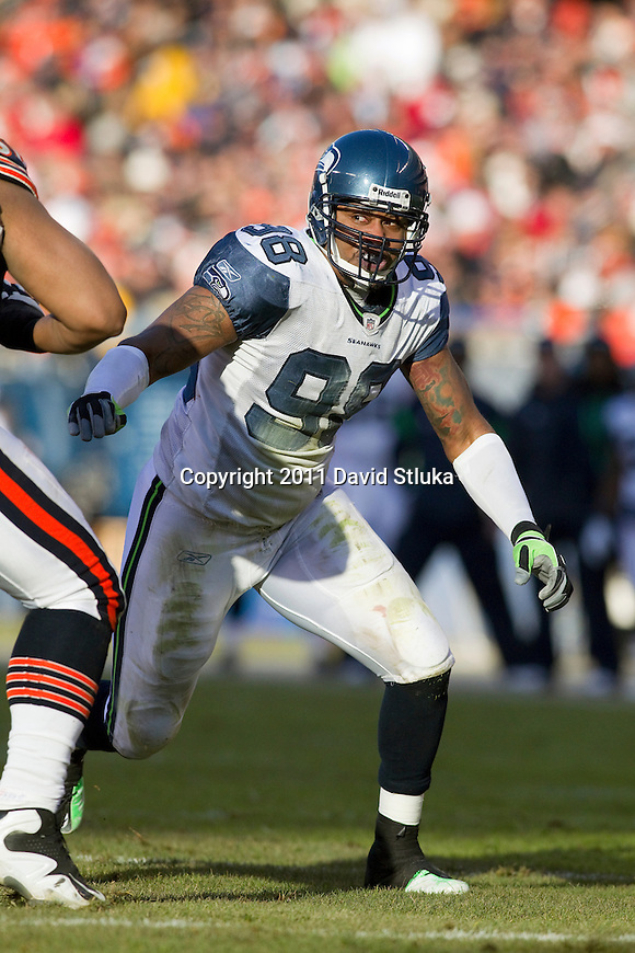 Seattle Seahawks defensive lineman Raheem Brock (98) plays defense during a week 15 NFL football game against the Chicago Bears on December 18, 2011 in Chicago. The Seahawks won 38-14. (AP Photo/David Stluka)