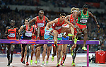 LONDON, ENGLAND - AUGUST 5:  Competitors run during the Men's 3,000M Steeplechase Final during the Athletics Competition, Day 10 of the London 2012 Olympic Games on August 5, 2012 in London, England. (Photo by Donald Miralle)