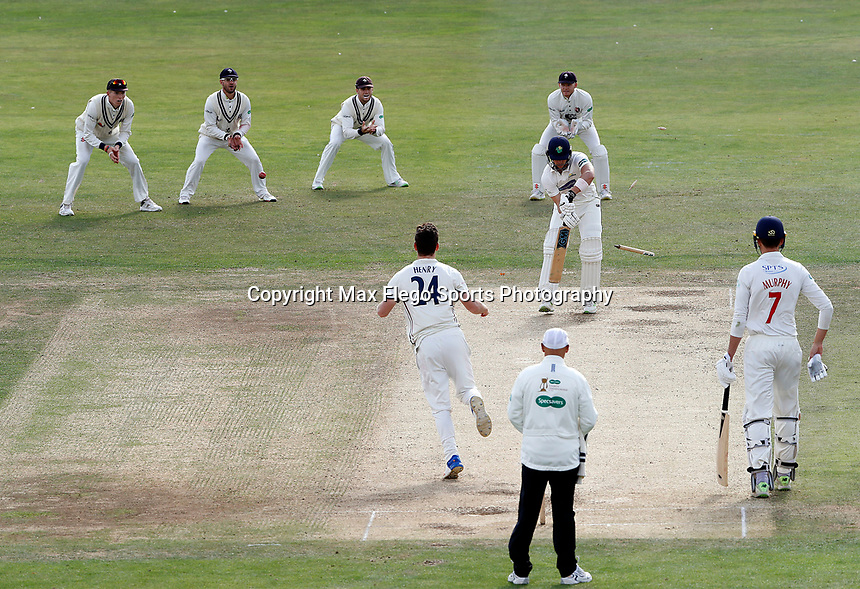Matt Henry of Kent bowls Craig Meschede during the Specsavers County Championship division two game between Kent and Glamorgan (day 3) at the St Lawrence Ground, Canterbury, on Sept 20, 2018