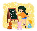 Illustrative image of girl teaching teddy bears representing wish