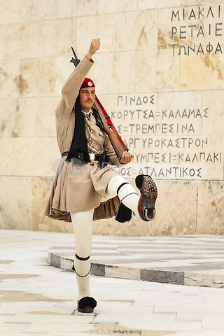 Greek soldier, an Evzone, outside the Parliament building, Athens, Greece <br /> CAP/MEL<br /> &copy;MEL/Capital Pictures /MediaPunch ***NORTH AND SOUTH AMERICA ONLY***