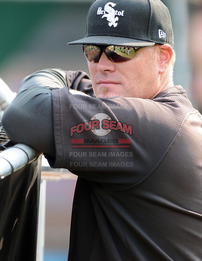 Manager Pete Rose Jr. (14) of the Bristol White Sox, Appalachian League affiliate of the Chicago White Sox, watches batting practice prior to a game against the Elizabethton Twins on August 18, 2011, at Joe O'Brien Field in Elizabethton, Tennessee. (Tom Priddy/Four Seam Images)