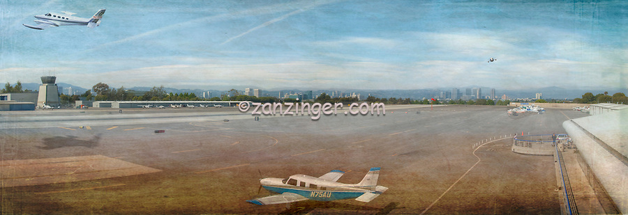 Small City Airport Plane taking off, Digital oil painted texture,  Beautiful, Unique
