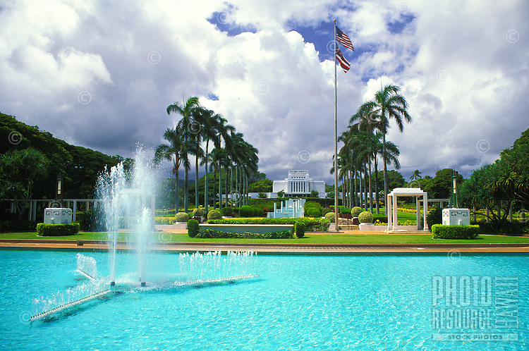 The mormon temple in the town of Laie on Oahu's northeast coast