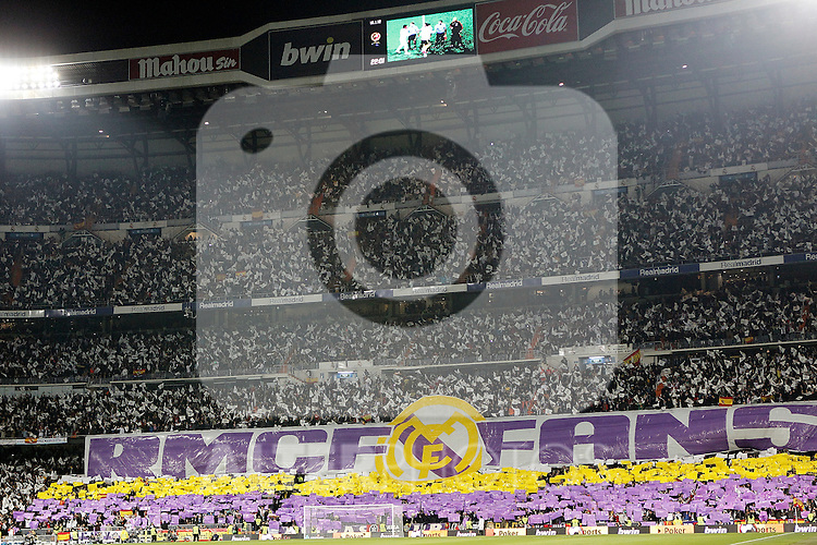 Real Madrid's fans with banner during King's Cup Match. January 18, 2012. (ALTERPHOTOS/Alvaro Hernandez)