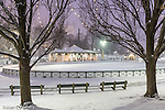 Evening snowfall at the Frog Pond skating rink in Boston Common, Boston, Massachusetts, USA