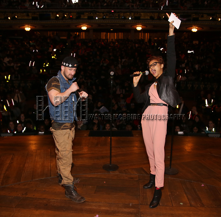 """Roddy Kennedy and Syndee Winters attends The Rockefeller Foundation and The Gilder Lehrman Institute of American History sponsored High School student #EduHam matinee performance of """"Hamilton"""" at the Richard Rodgers Theatre on 3/15/2017 in New York City."""