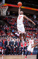 Ohio State Buckeyes forward Sam Thompson (12) soars to the basket for a slam dunk during the second half of the NCAA men's basketball game between the Ohio State Buckeyes and the Minnesota Golden Gophers at Value City Arena in Columbus, Ohio, on Saturday, Feb. 22, 2014. The Buckeyes overcame a 10-point deficit at the half to defeat the Minnesota Golden Gophers 64-46. (Columbus Dispatch/Sam Greene)