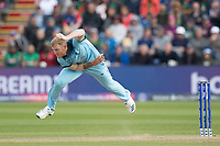 Ben Stokes (England) follows through during England vs Bangladesh, ICC World Cup Cricket at Sophia Gardens Cardiff on 8th June 2019