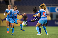 Orlando, FL - Saturday July 16, 2016: Taylor Comeau, Jasmyne Spencer, Casey Short during a regular season National Women's Soccer League (NWSL) match between the Orlando Pride and the Chicago Red Stars at Camping World Stadium.