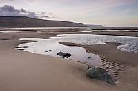 Barmouth Harbour low tide at sunrise, Gwynedd, North Wales, Wales, United Kingdom, Europe