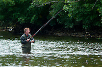 Ballina, county Mayo, Ireland, June 2010. This is justifiably one of the most famous angling venues in the world, where catches of over 5,000 salmon have been recorded in a single season. Its entire length, of just over 1.5 miles is located within the Ballina Town boundaries. Purchased by the State in 1987, the Moy Fishery is now under the management of the North Western Regional Fisheries Board. In 1999 the board completed the first phase of the Moy Development Plan. This programme enhanced large sections of salmon and trout spawning and nursery habitat and created numerous new angling pools on the River Moy and its tributaries. Much of this development work was centred on the Moy Fishery and a considerable number of new angling spaces have been created as a result. For centuries, Ireland has offered the greatest sport fishing to anglers. Several traditional houses offer accomodation and fishing in style, under the name 'The Great Fishing Houses of Ireland'.  Each of the houses has access to superb fishing. Some offer private, exclusive waters, while others are located on the great free lakes of Ireland. Photo by Frits Meyst/Adventure4ever.com