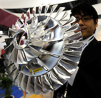 An engine sample at Asian Aerospace 2011 (Asian Aerospace International Expo and Congress) held in Hong Kong's Asia World Expo, Hong Kong, China. Asian Aerospace is the world's largest single-focused exhibition and congress for the commercial aerospace and civil aviation market with particular emphasis on the Asia-Pacific region. This year a record of 270 exhibitors from 32 countries, and the number of Chinese companies increased by 42% comparing to last year..09 Mar 2011