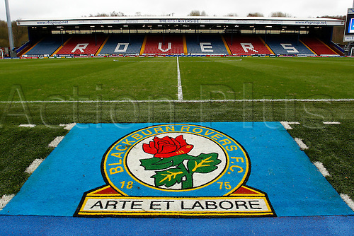 21.02.2016. Ewood Park, Blackburn, England. Emirates FA Cup 5th Round. Blackburn Rovers versus West Ham United. A view of Blackburn Rovers' Ewood Park stadium with team crest on pitch before today's game.